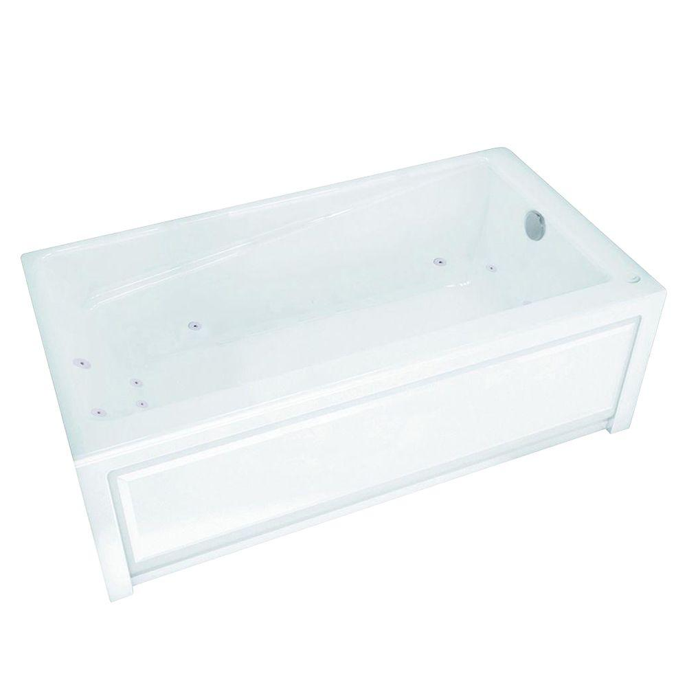 MAAX Loft 5 ft. Whirlpool Tub in White with 10 Microjets Right Drain