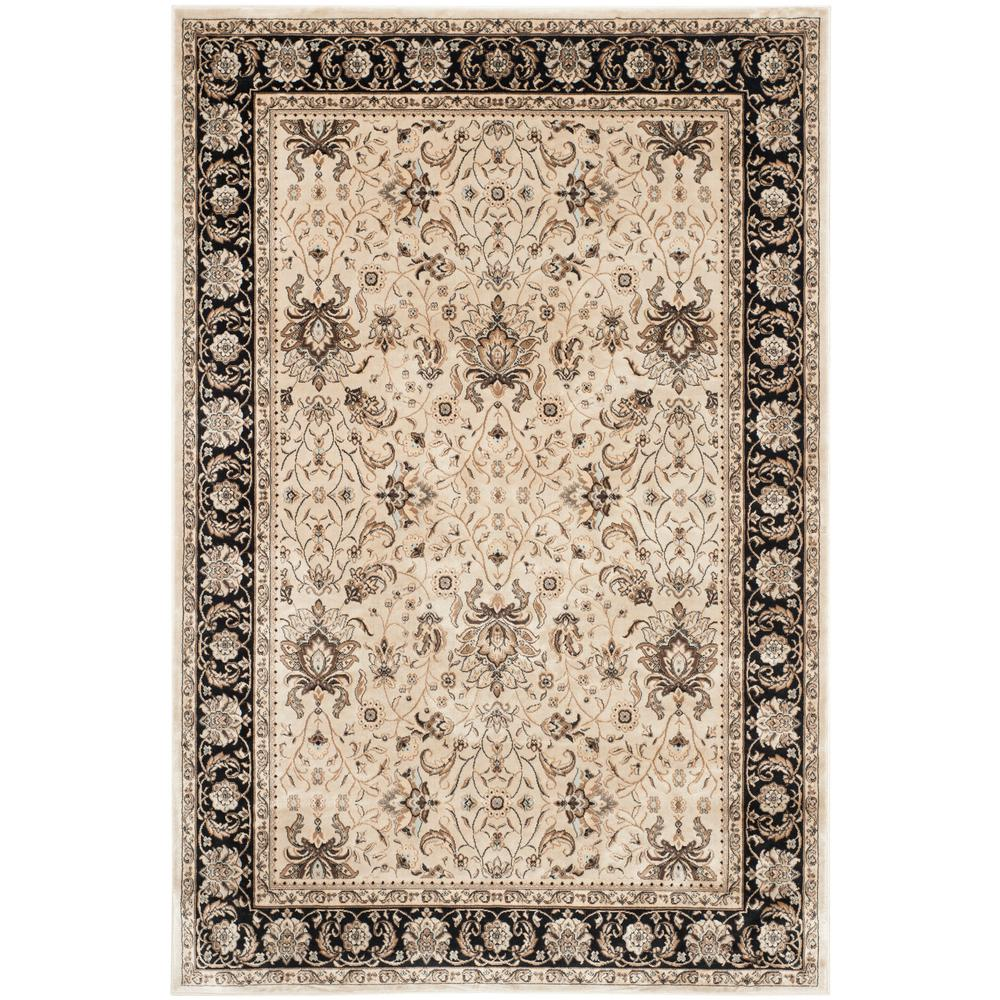 Persian Garden Ivory/Black 6 ft. 7 in. x 9 ft. 2 in. Area Rug