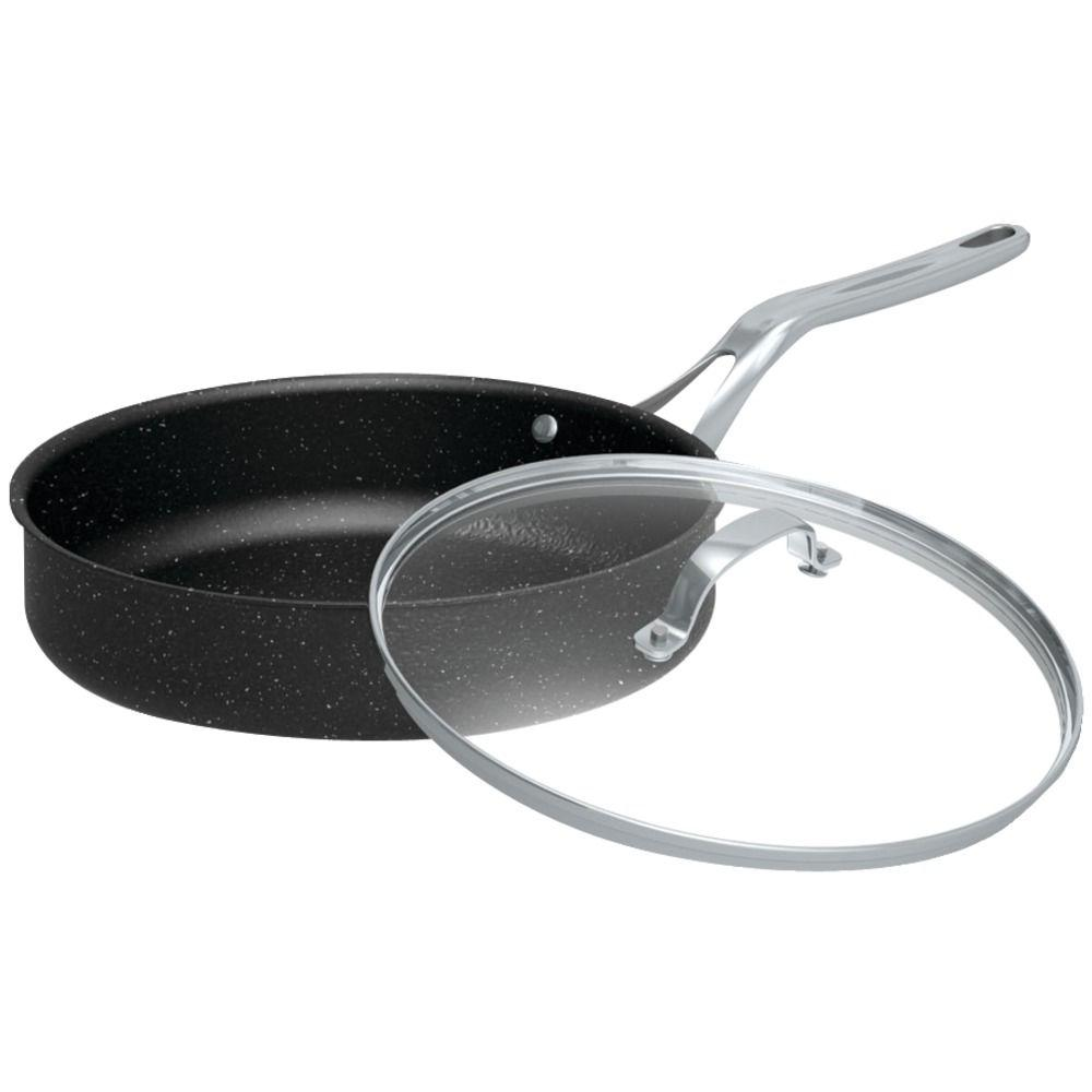 Starfrit The Rock 11 in. Deep Fry Pan with Glass Lid-060318-003-0000
