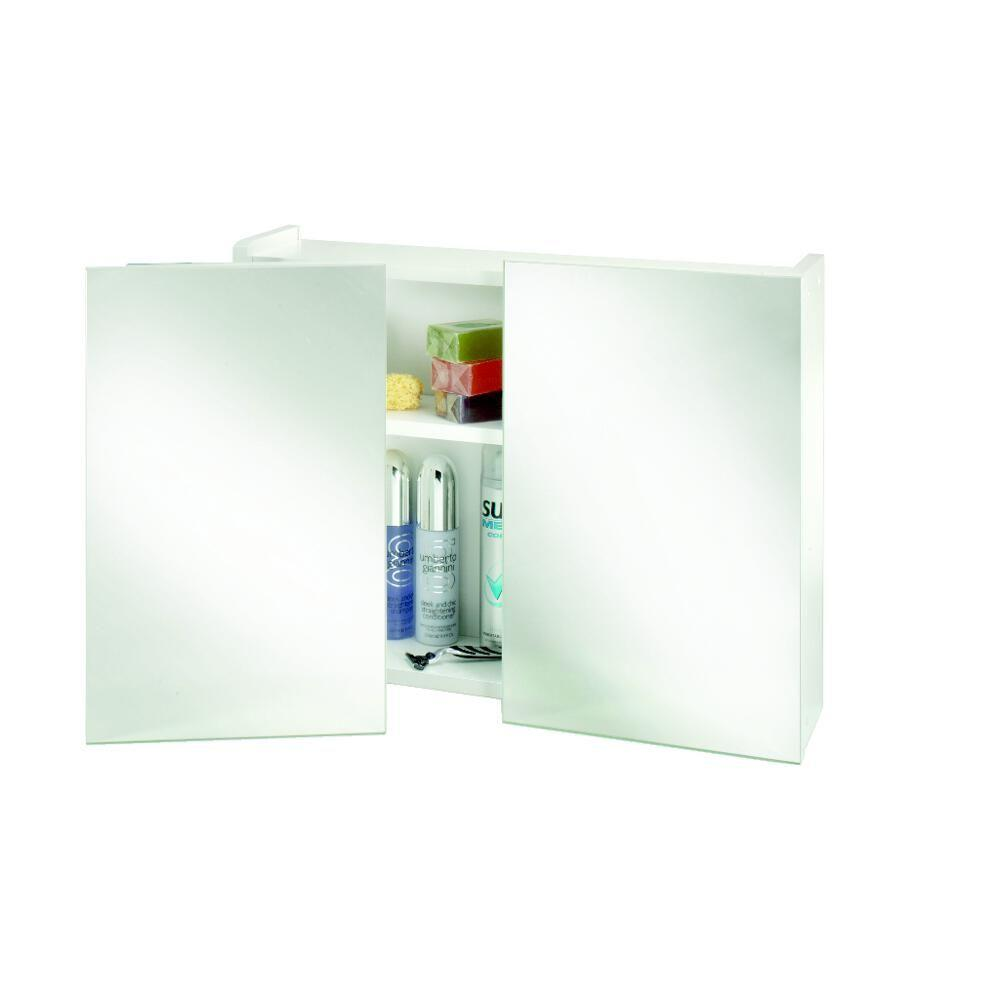 surface mount bathroom medicine cabinet with swivel mirrors in white