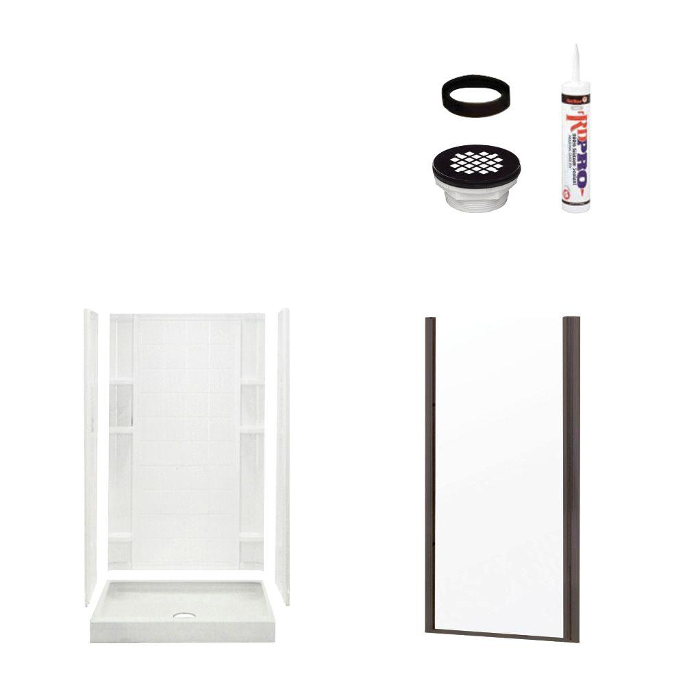 STERLING Ensemble Tile 34 in. x 36 in. x 75-3/4 in. Shower Kit with Shower Door in White/Oil Rubbed Bronze-DISCONTINUED