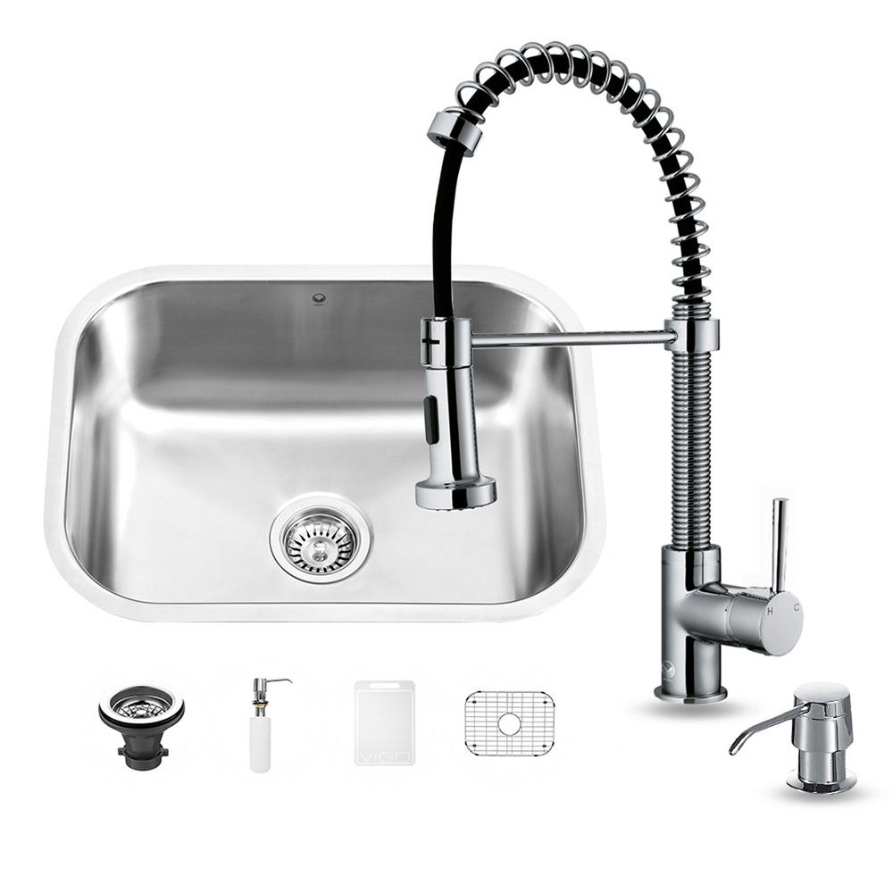 All-in-One Undermount Stainless Steel 23 in. 0-Hole Single Basin Kitchen Sink