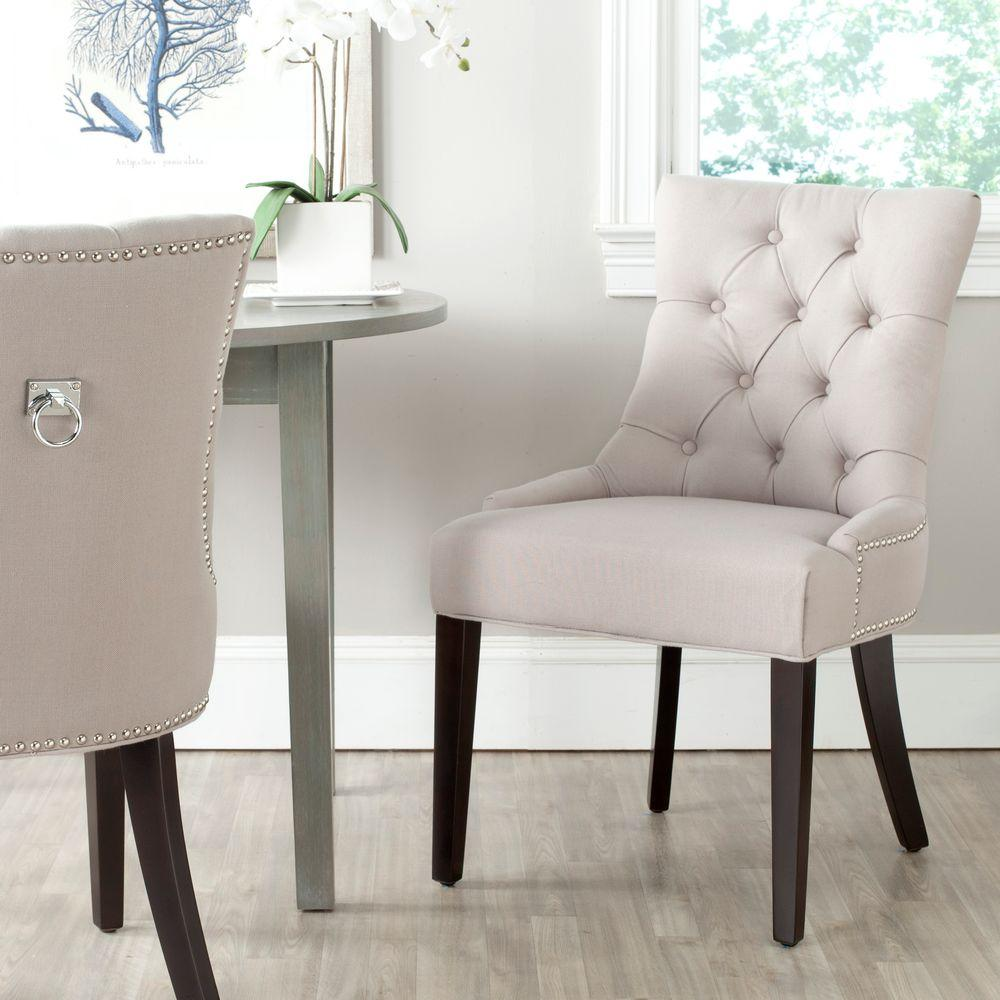 Safavieh Harlow Birchwood Linen Ring Chair in Taupe (Set of 2)-MCR4716A-SET2