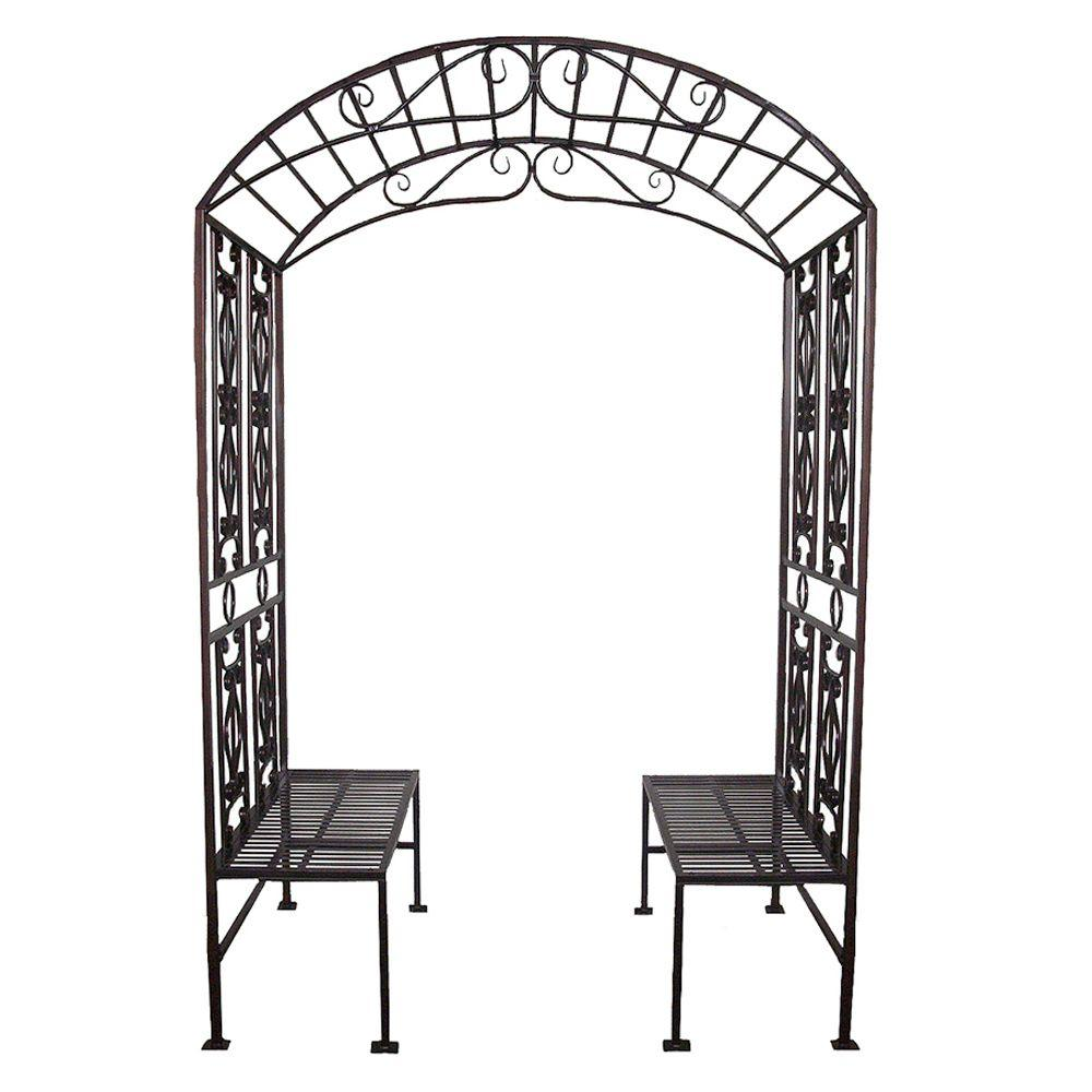 Design Toscano 42 in. W x 66 in. D x 99.5 in. H Grand Essex Metal Garden Arbor with Tete a Tete Bench-DISCONTINUED