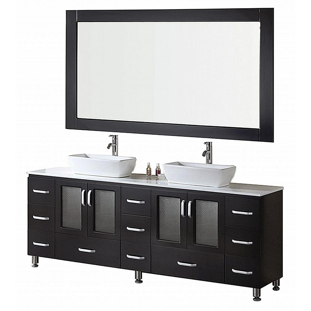 Design Element Stanton 72 in. W x 20 in. D Vanity in Espresso with Composite Stone Vanity Top and Mirror in White