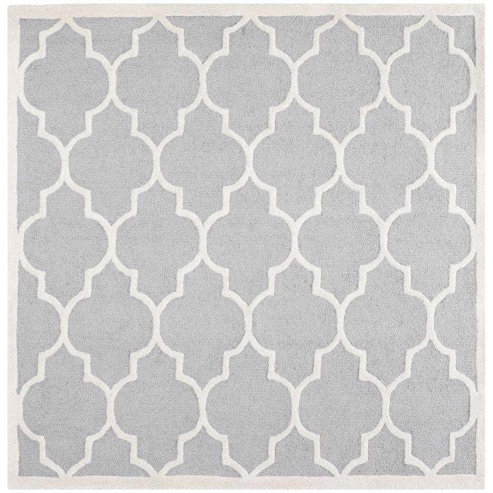 Cambridge Silver/Ivory 6 ft. x 6 ft. Square Area Rug
