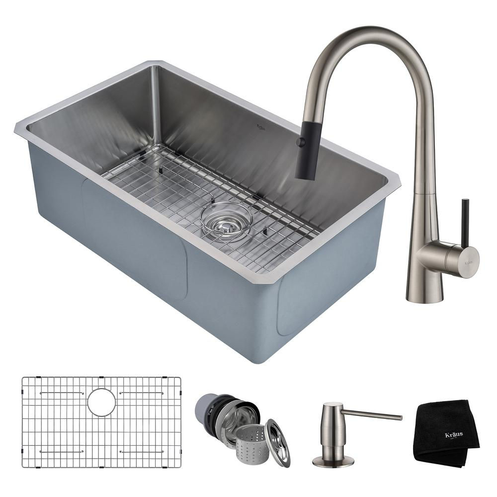 Handmade All-in-One Undermount Stainless Steel 30 in. Single Bowl Kitchen Sink
