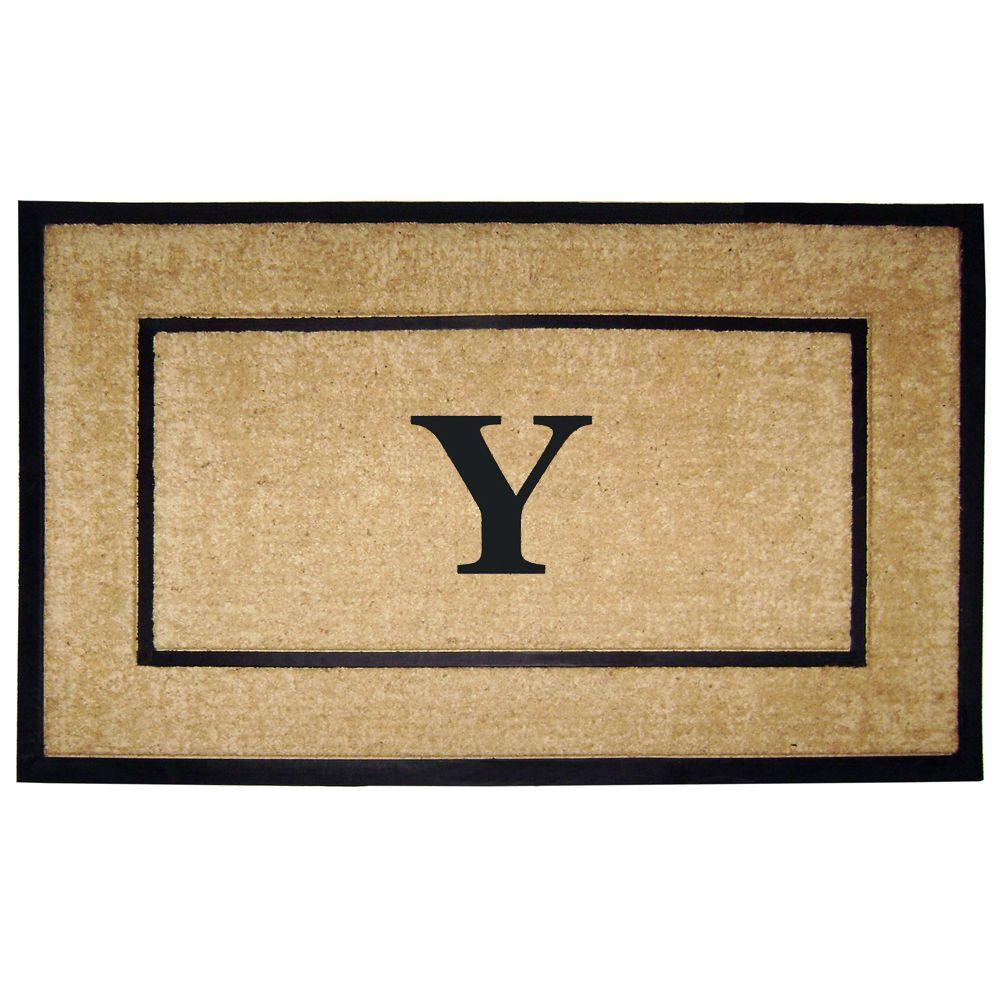 Nedia Home DirtBuster Single Picture Frame Black 30 in. x 48 in. Coir with Rubber Border Monogrammed Y Door Mat