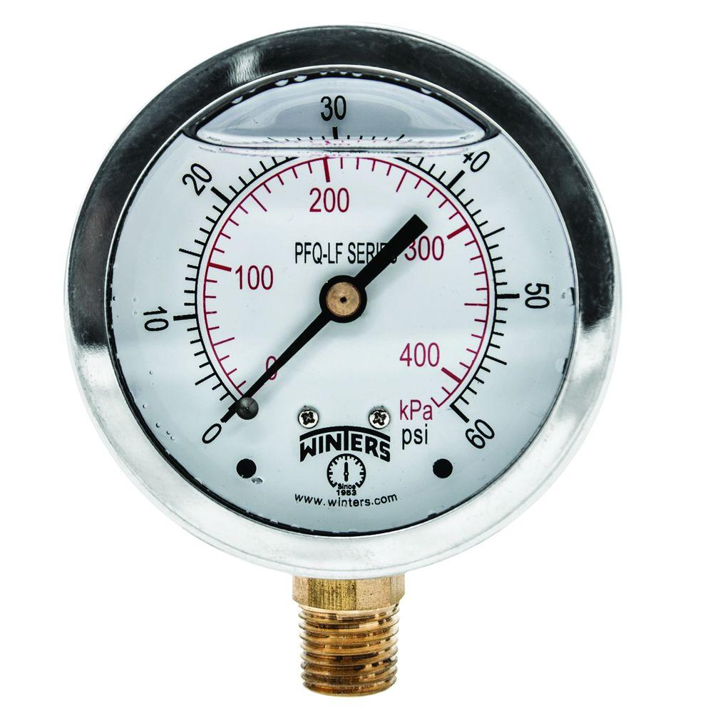 Winters Instruments PFQ-LF 2.5 in. Lead-Free Brass Stainless Steel Liquid Filled Pressure Gauge with 1/4 in. NPT BTM and 0-60 psi/kPa