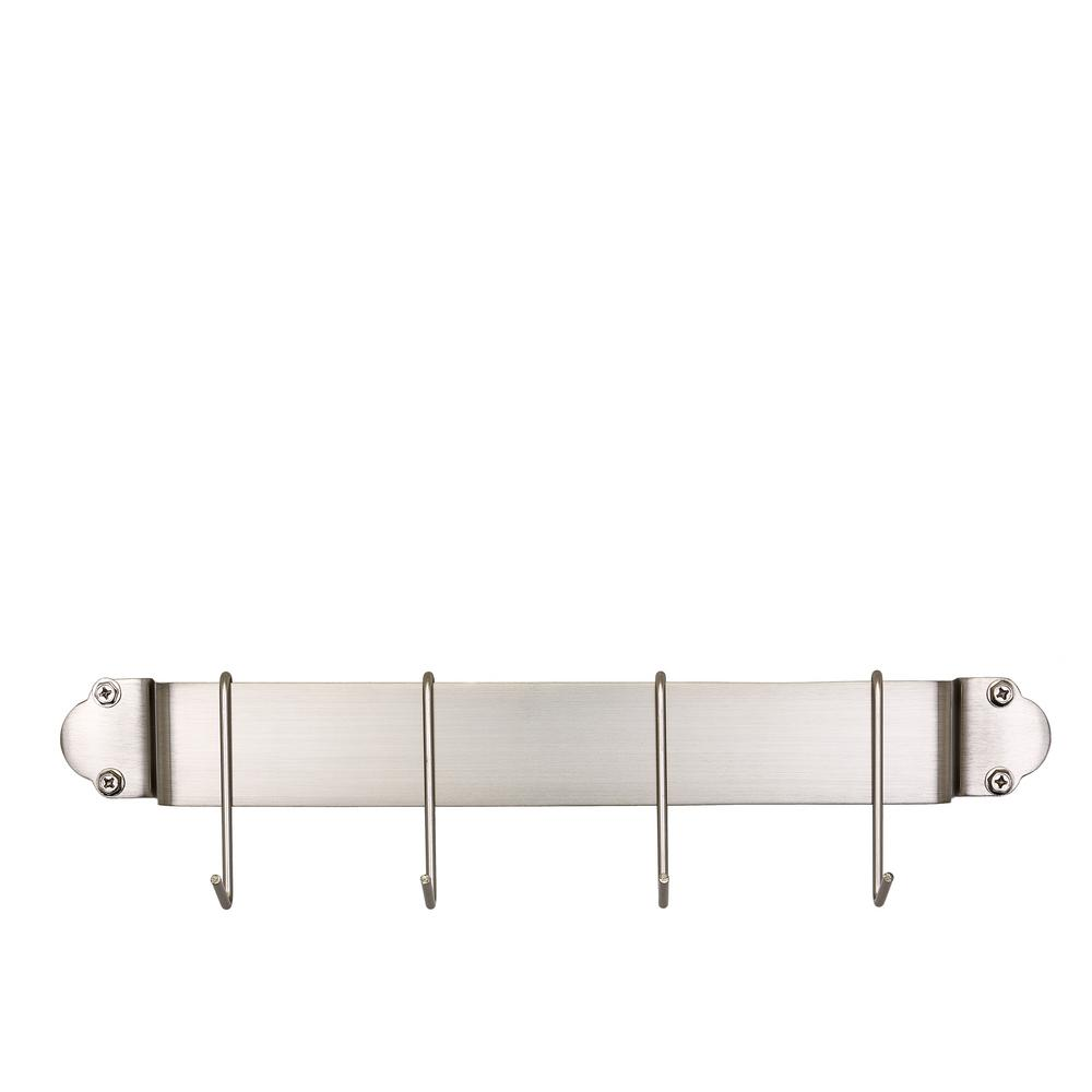 18 in. Satin Nickel Bar Rack with 4 Hooks
