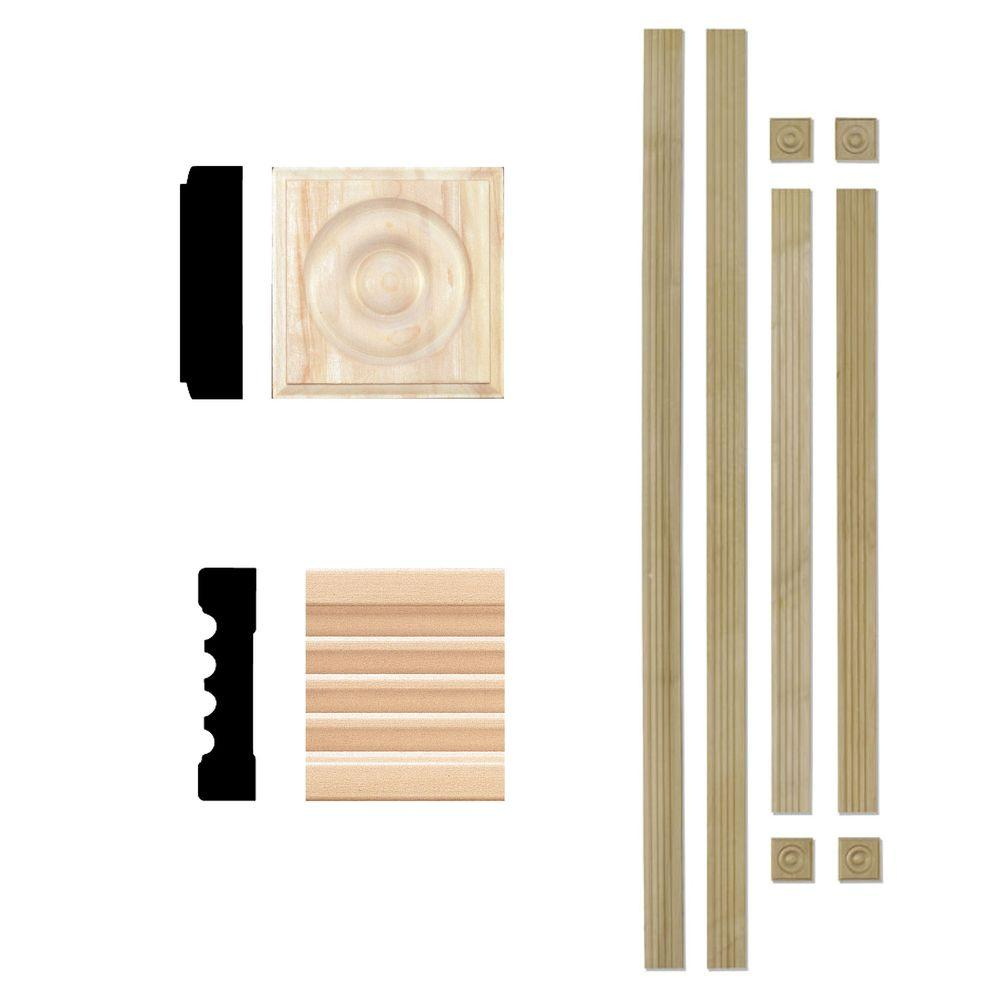 House of Fara 3/4 in. x 3 in. Hardwood Fluted Window Trim Casing Set (Up to 4 ft. x 6 ft. Opening)