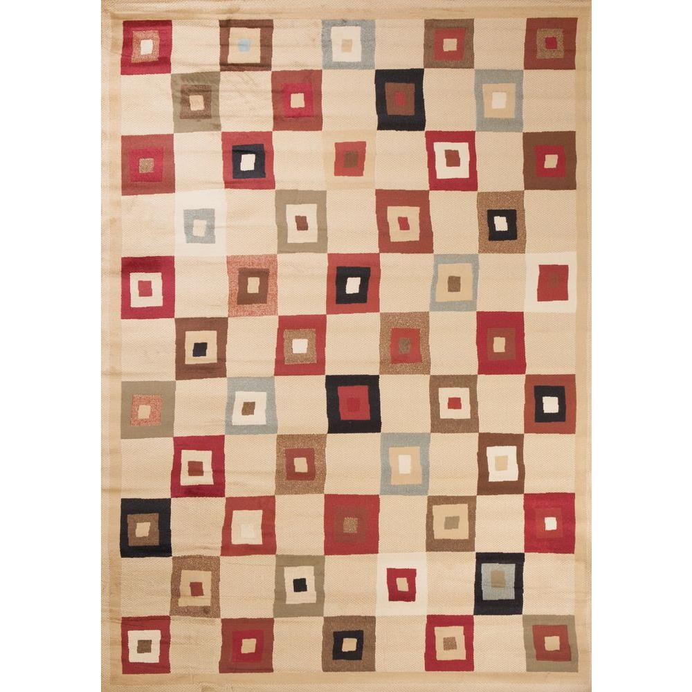 Concord Global Trading Soho Village Square Ivory 6 ft. 7 in. x 9 ft. 6 in. Area Rug