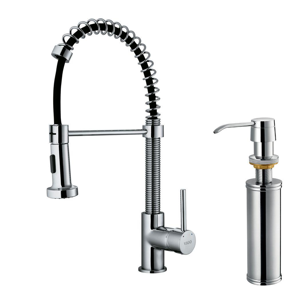 Single-Handle Pull-Out Sprayer Kitchen Faucet with Soap Dispenser in Chrome