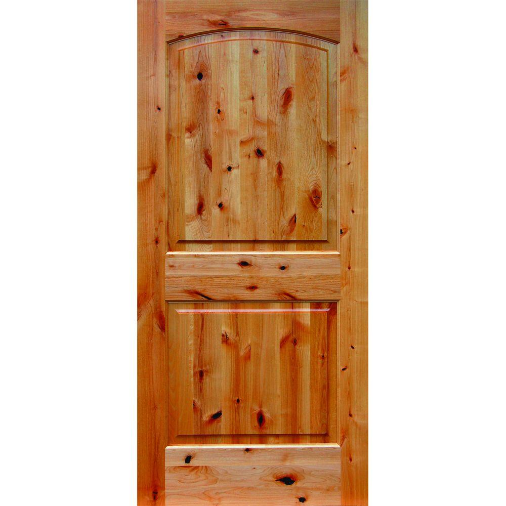 36 in x 80 in 2 panel arch top unfinished wood knotty Home depot interior doors wood