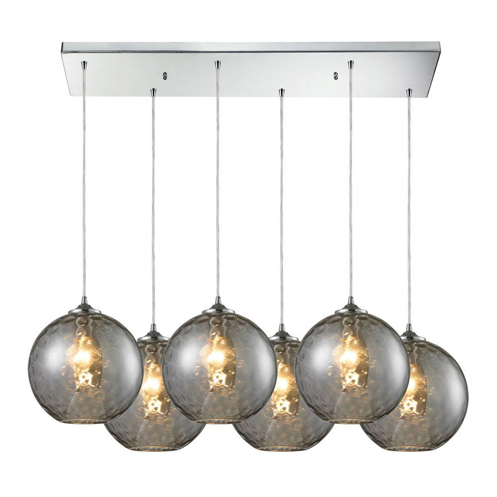 Titan Lighting Watersphere 6-Light Polished Chrome Ceiling Mount Pendant