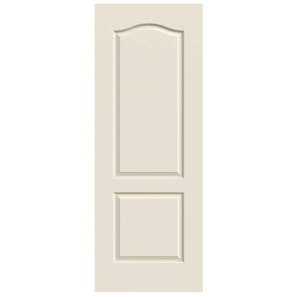 30 in. x 80 in. Molded Smooth 2-Panel Eyebrow Primed White