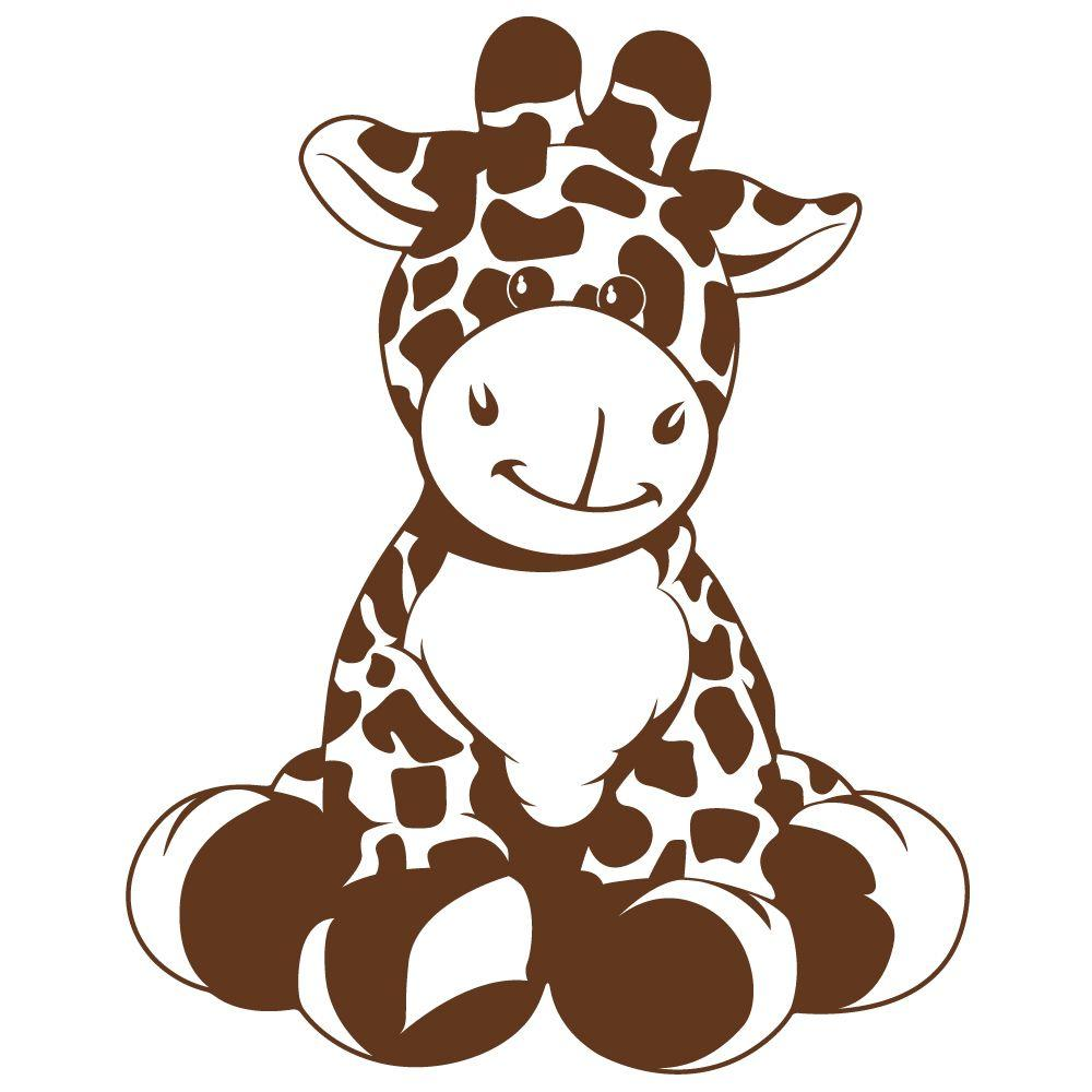 null 37 in. x 30 in. Giraffe Brown Super Jumbo Wall Decal-DISCONTINUED