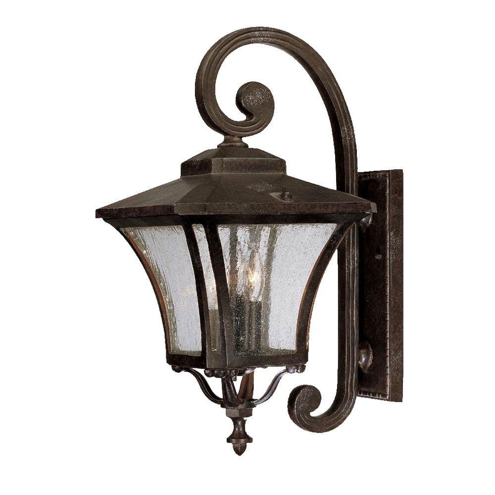 Acclaim Lighting Tuscan Collection 3-Light Marbleized Mahogany Outdoor Wall-Mount Fixture