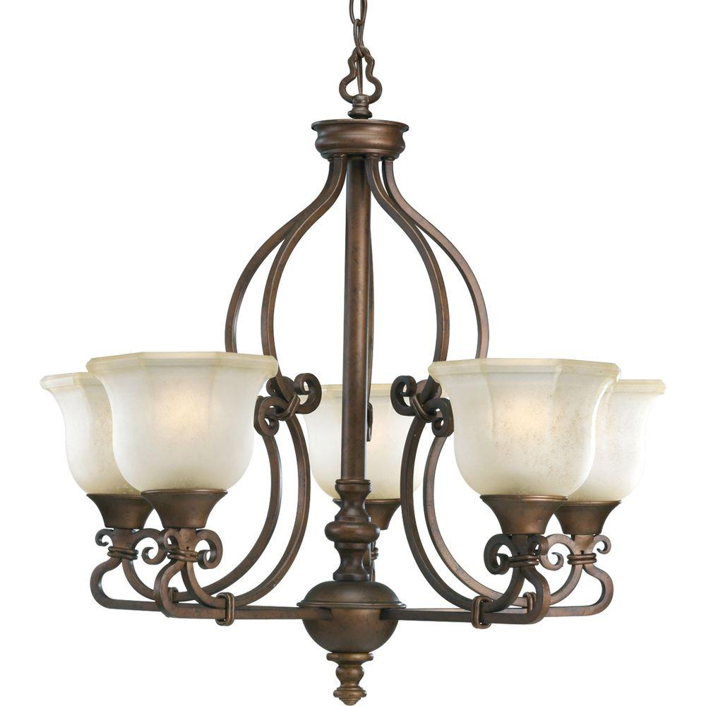 Progress Lighting Guildhall Collection Roasted Java 5-light Chandelier-DISCONTINUED