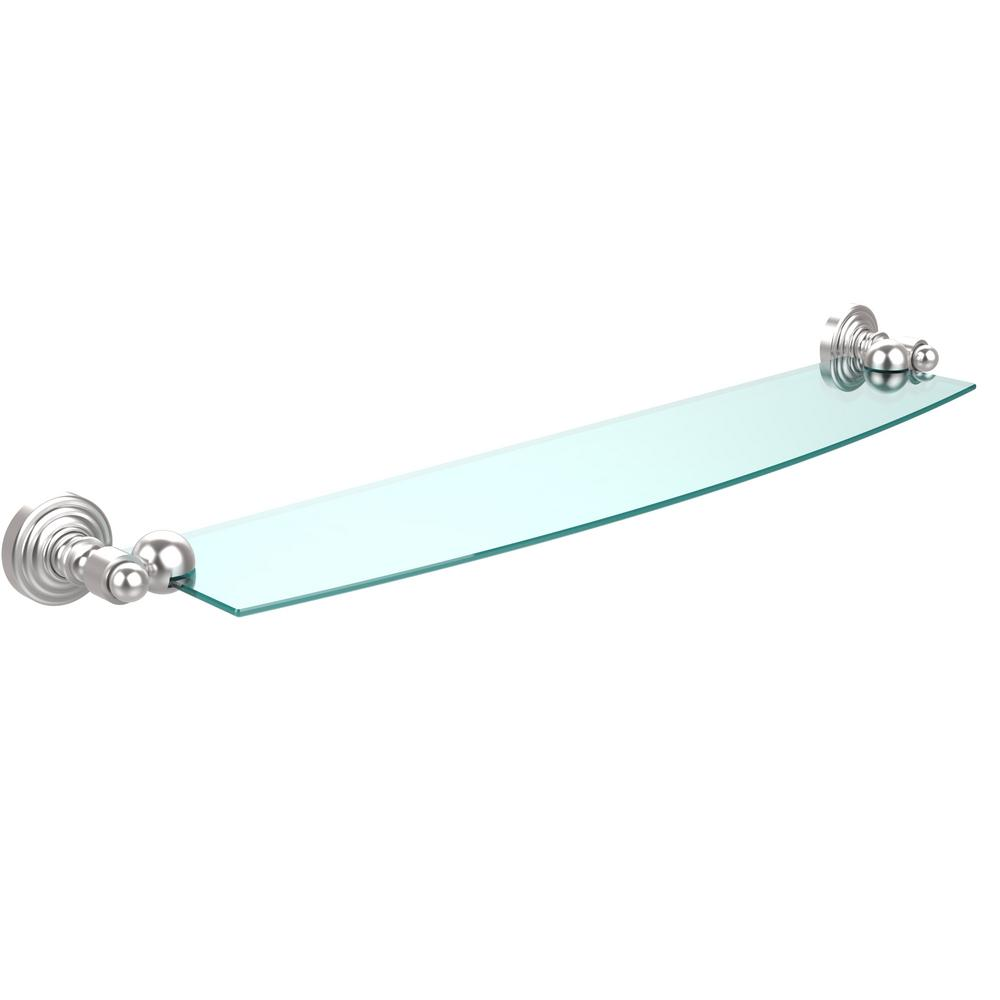 Waverly Place 24 in. Glass Shelf in Satin Chrome