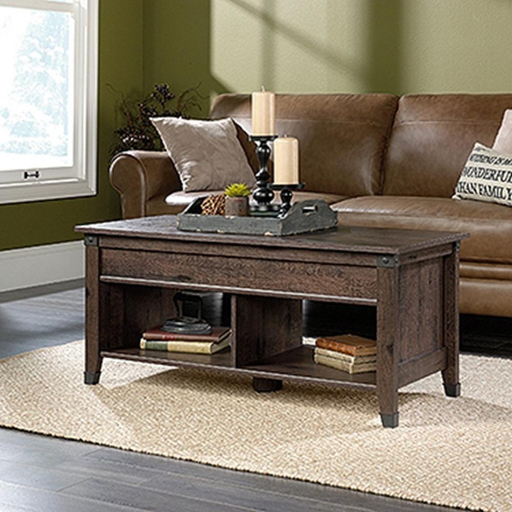 sauder carson forge coffee oak extendable coffee table-420421