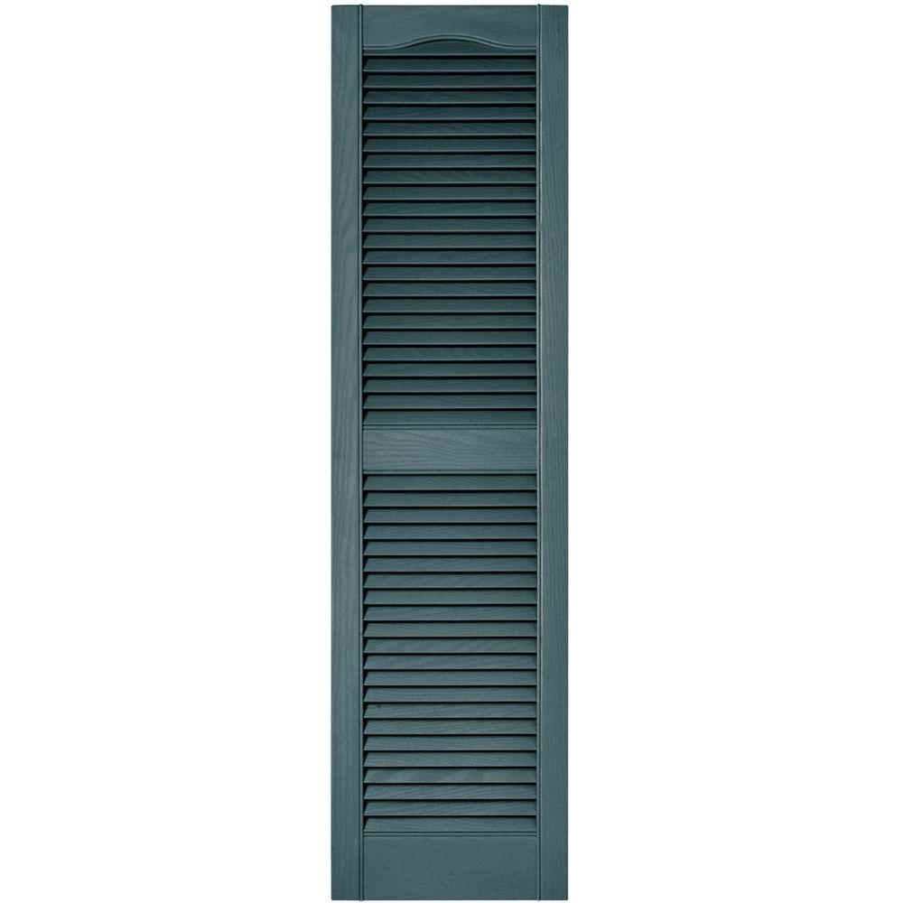 15 in. x 55 in. Louvered Vinyl Exterior Shutters Pair in #004 Wedgewood Blue