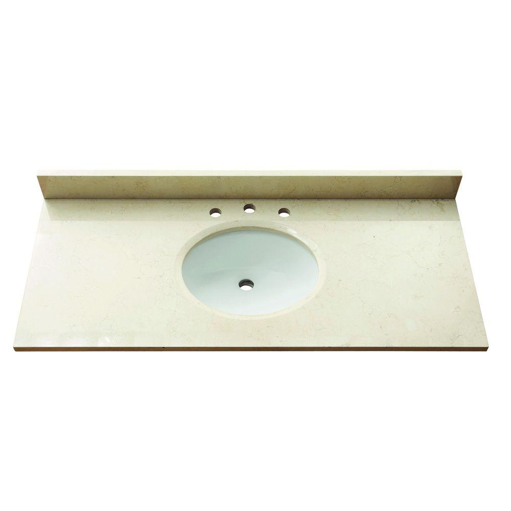 Avanity 49 in. Marble Stone Vanity Top in Galala Beige without Basin