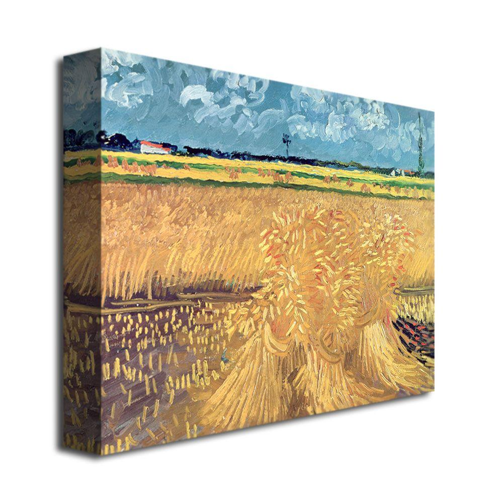 Trademark Fine Art 16 in. x 24 in. Wheatfield with Sheaves 1888 Canvas Wall Art