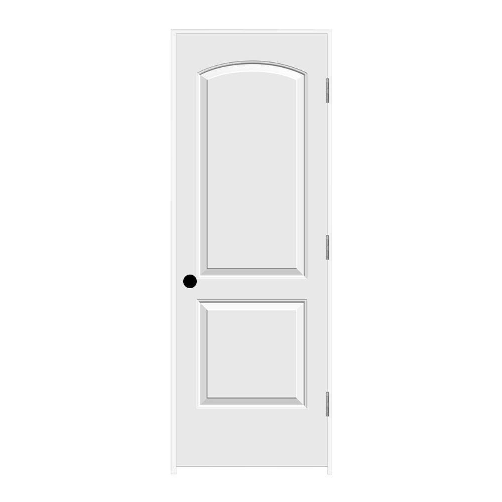 28 in. x 80 in. Molded Smooth 2-Panel Arch Primed White