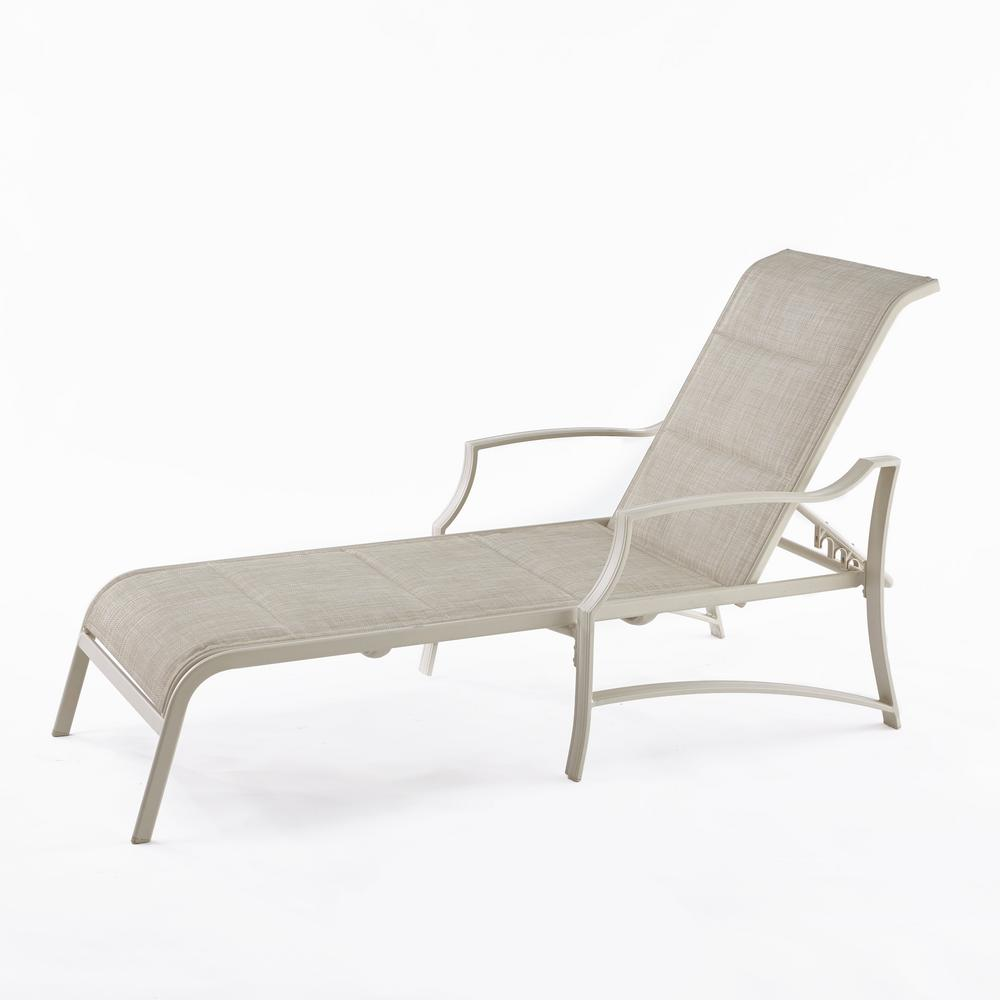 Hampton bay statesville shell aluminum outdoor chaise for Aluminum chaise lounge
