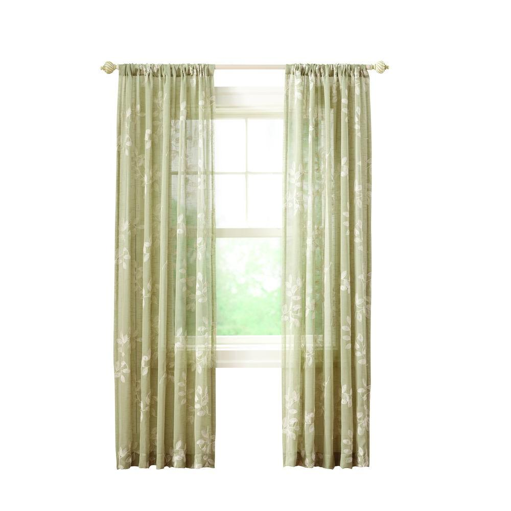 Green Leaf Embroidery Rod Pocket Curtain - 50 in. W x