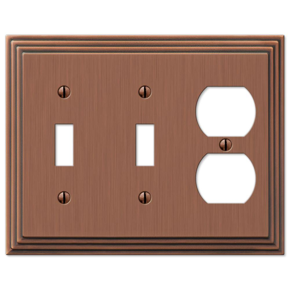 Hampton Bay Steps 2 Toggle 1 Duplex Wall Plate - Antique Copper
