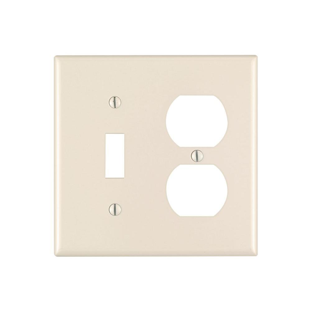 Leviton 2-Gang 1 Toggle 1 Duplex Combination Wall Plate, Light