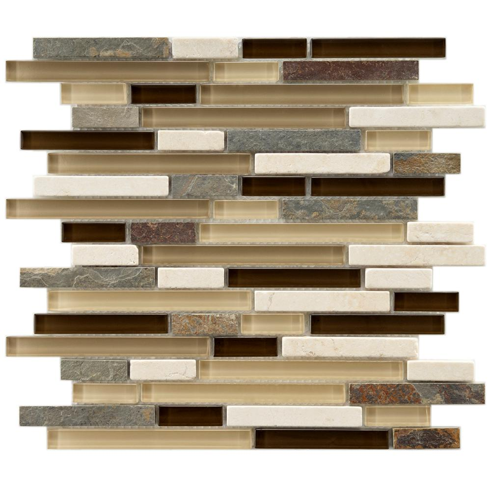 Merola Tile Tessera Piano Nassau 11-5/8 in. x 11-3/4 in. x 8 mm Glass and Stone Mosaic Tile, Multicolored Brown And Tan/Mixed Finish