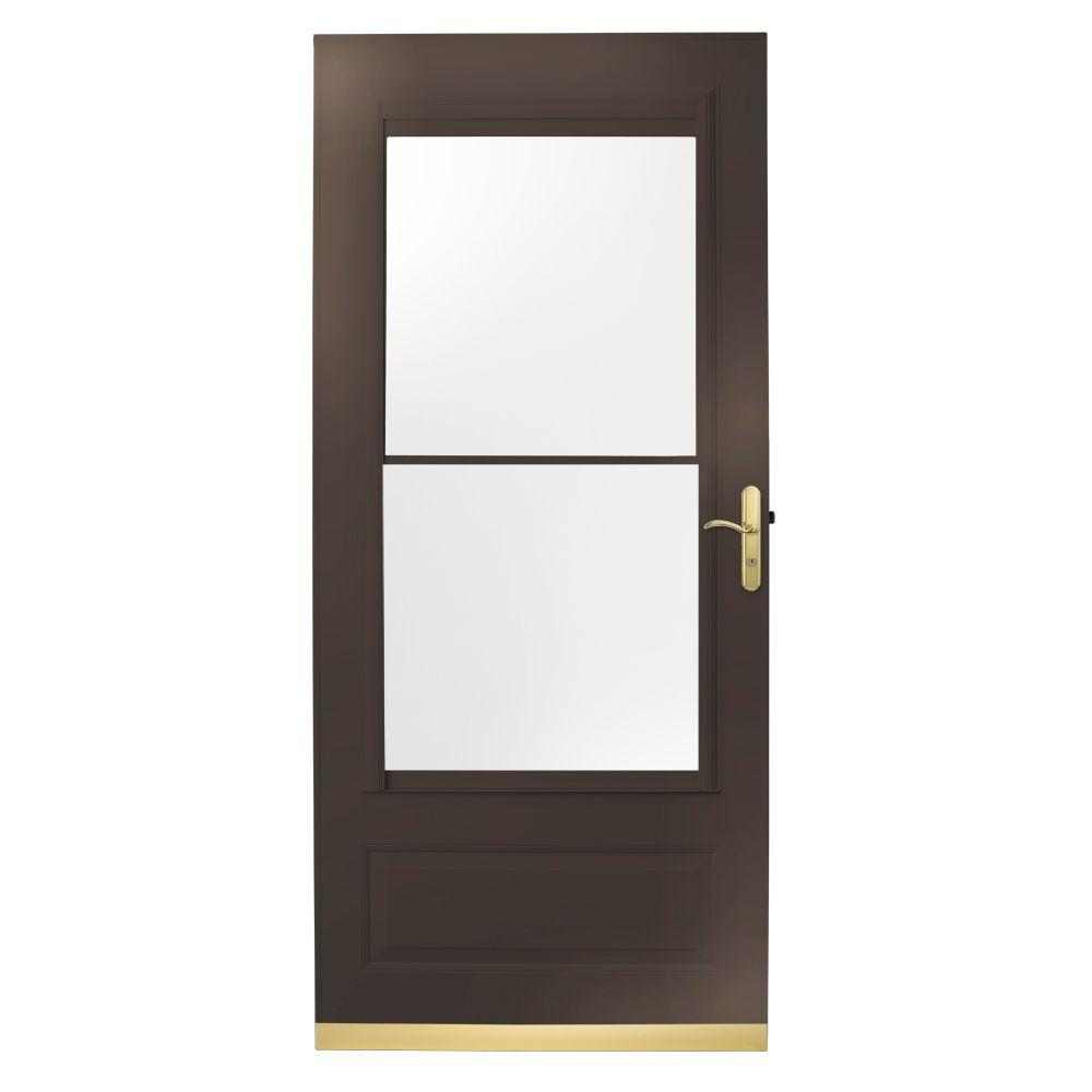 null 32 in. x 80 in. 400 Series Bronze Aluminum Self-Storing Storm Door with Brass Hardware-DISCONTINUED