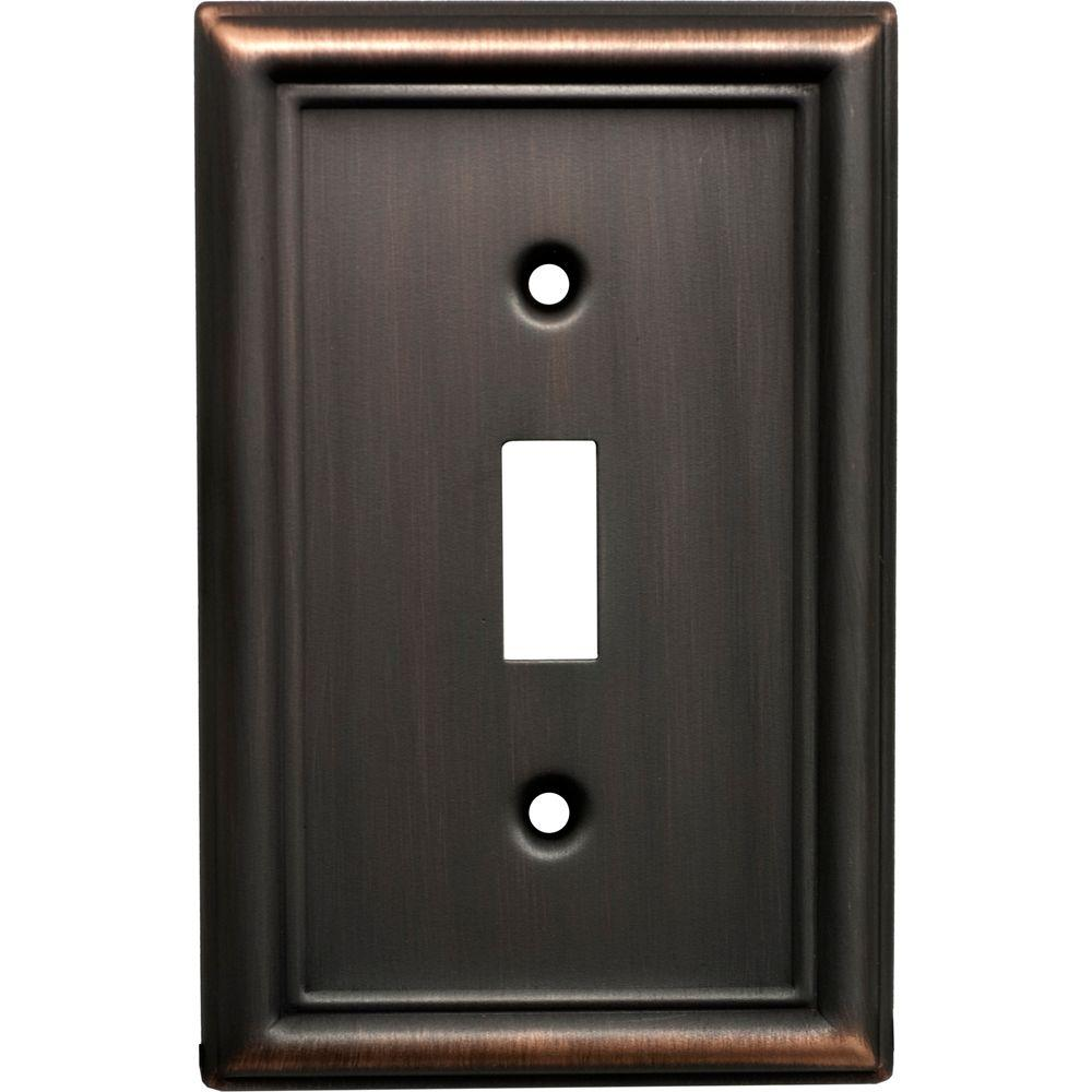 GE 1 Toggle Steel Switch Wall Plate - Venetian Bronze Faux-40302