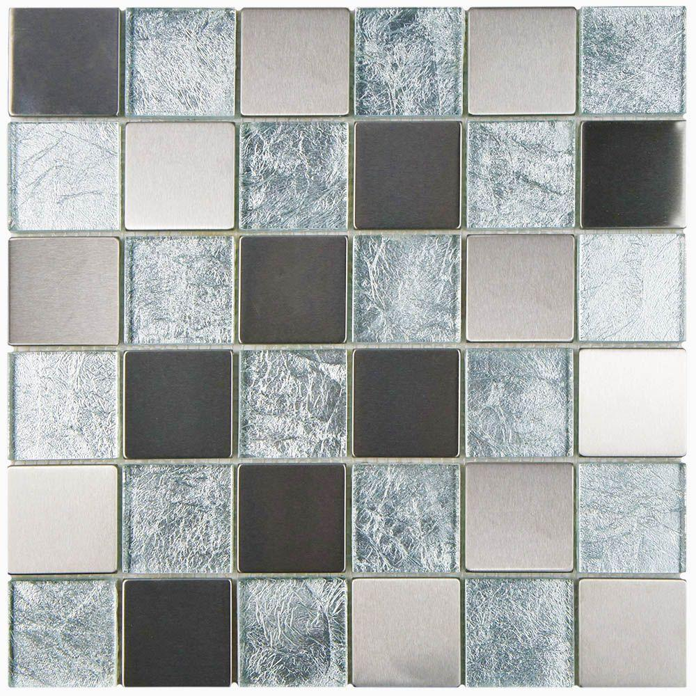Merola Tile Frosted Quad Ice 12 in. x 12 in. x 8 mm Metal and Glass Mosaic Wall Tile