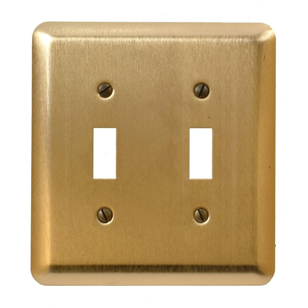 Amerelle Steel 2 Toggle Wall Plate - Brushed Brass-154TT - The