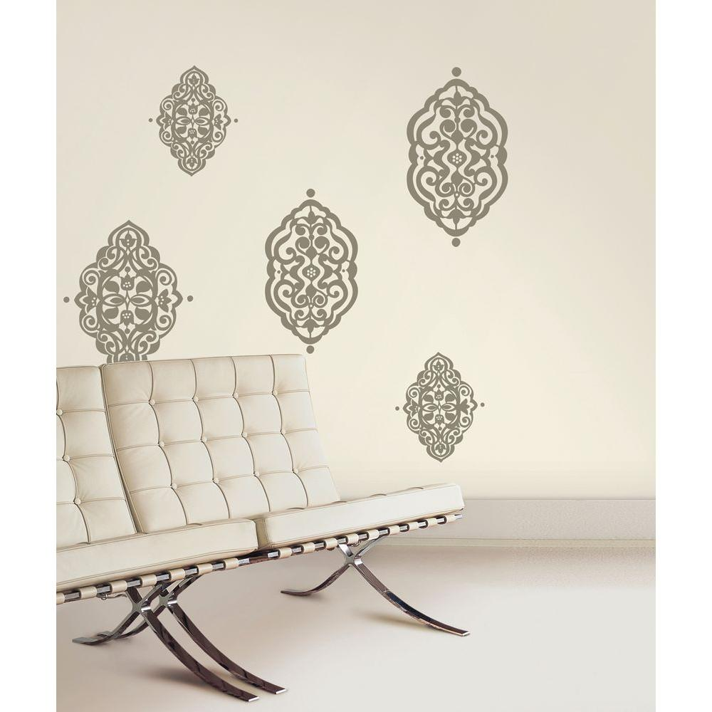 Snap 39.75 in. x 17.125 in. Gray Diamante Wall Decal