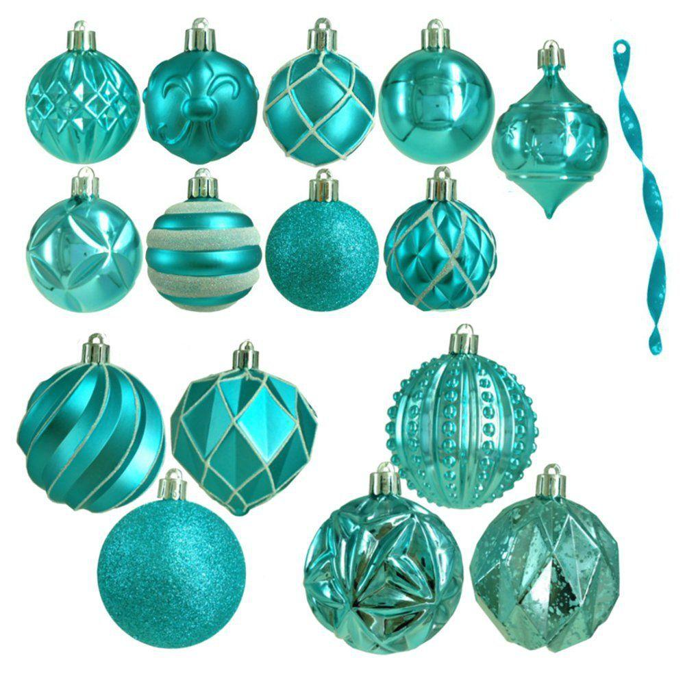 Martha Stewart Living Winter Wishes Assorted Ornament in Turquoise