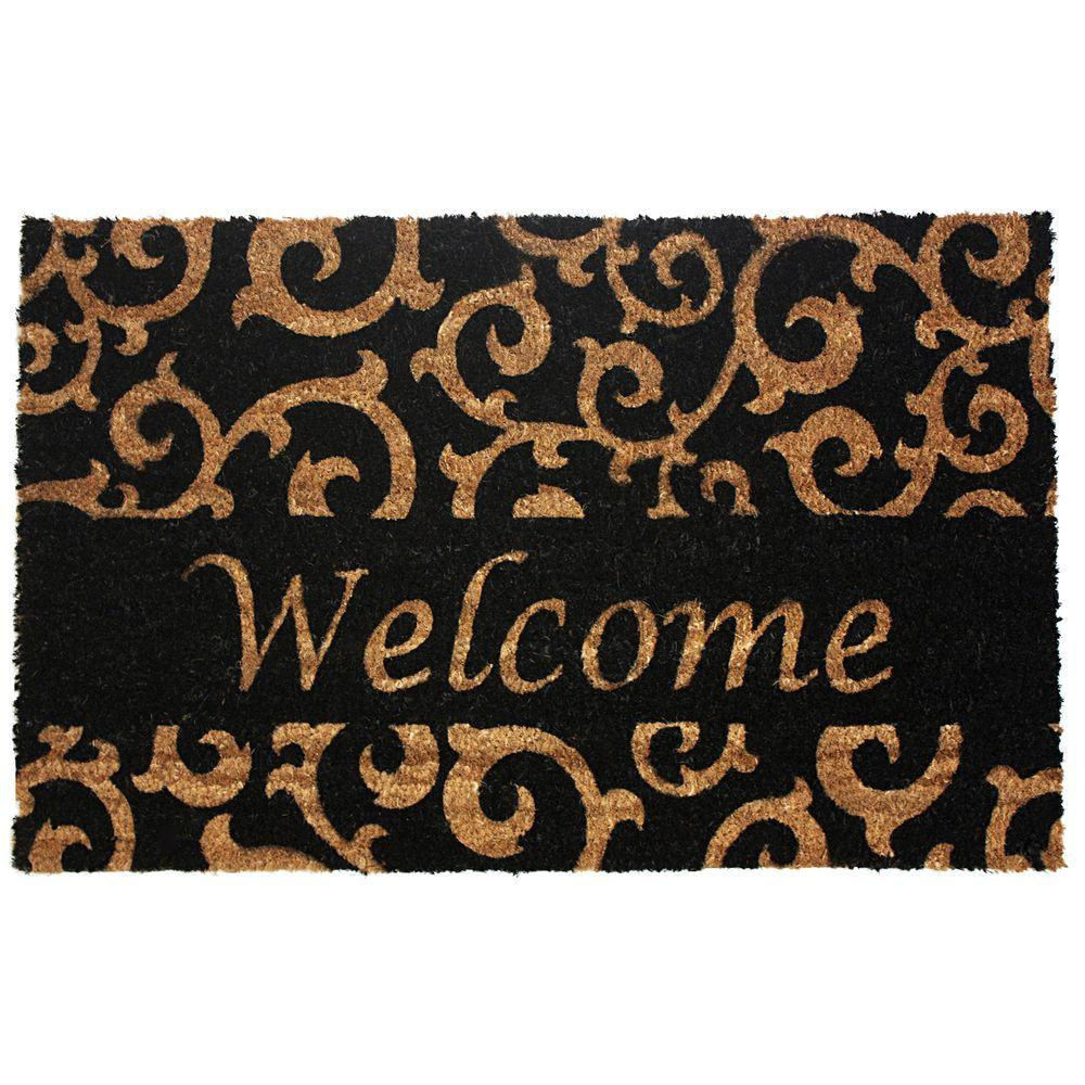 Welcome Black Scroll 18 in. x 30 in. Vinyl Back Coco