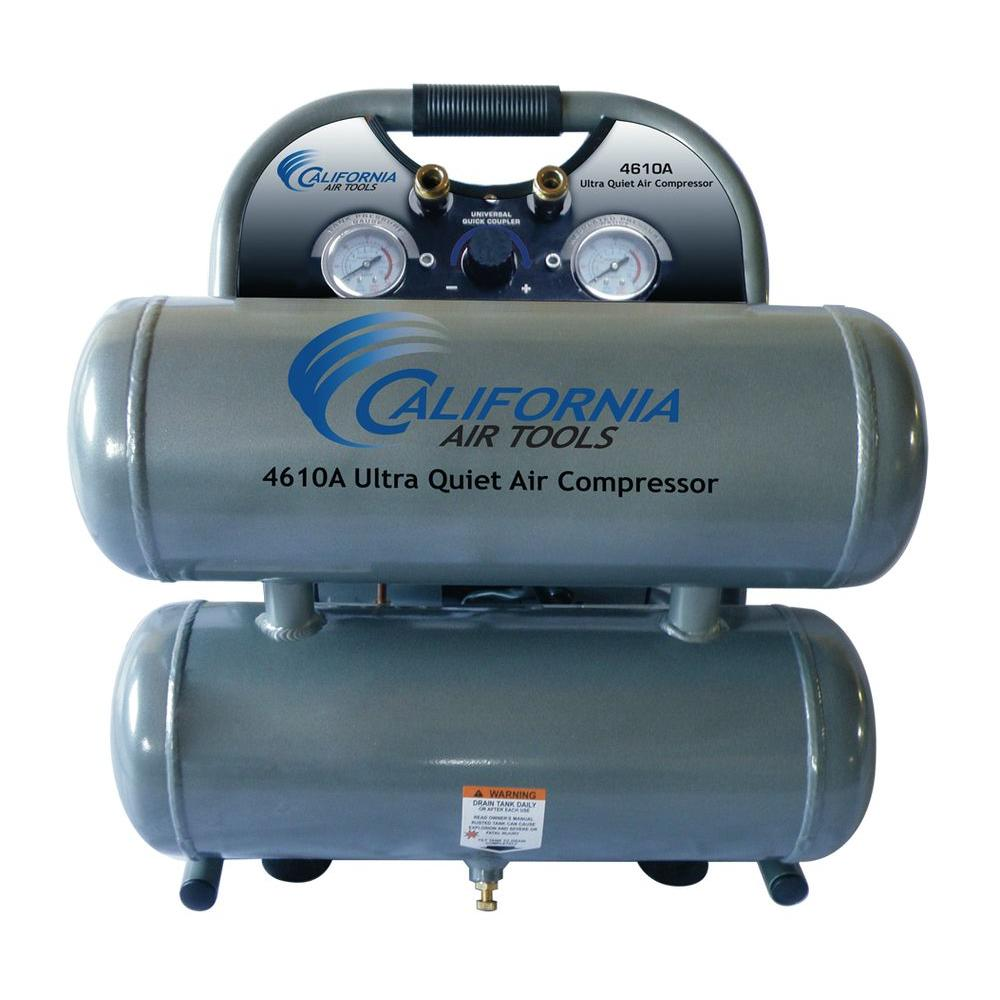 4.6 Gal. 1 HP Ultra Quiet and Oil-Free Aluminum Twin Tank Air Compressor