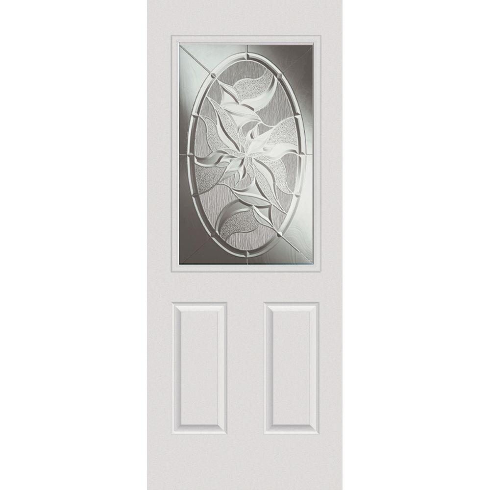 Milliken Millwork 32 in. x 80 in. Lasting Impressions Decorative Glass 1/2 Lite 2-Panel Primed White Steel Prehung Front Door
