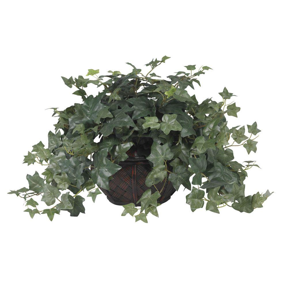Nearly Natural 18 in. H Green Puff Ivy with Vase Silk Plant