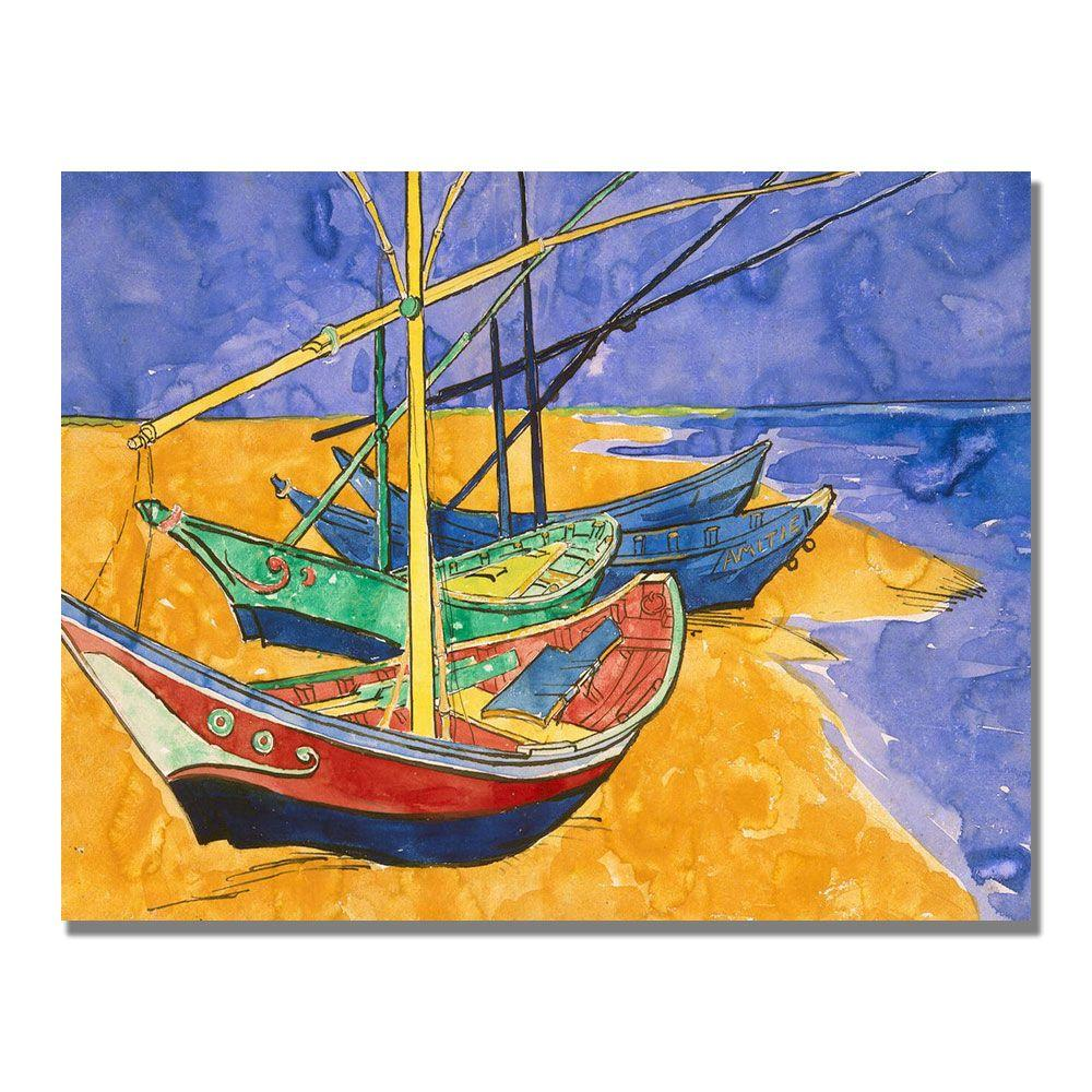 Trademark Fine Art 18 in. x 24 in. Fishing Boats on the Beach Canvas Art