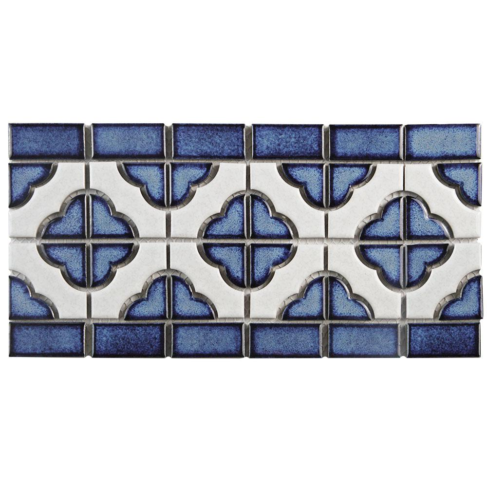 Merola Tile Palace Cobalt with White Border 5-3/4 in. x 11-3/4