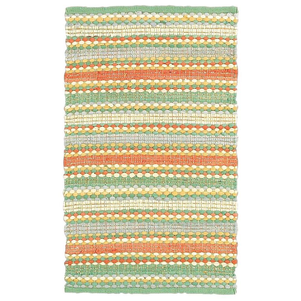 LR Resources Altair Jade Multi Rectangle 8 ft. x 10 ft. Cotton Reversible Area Rug