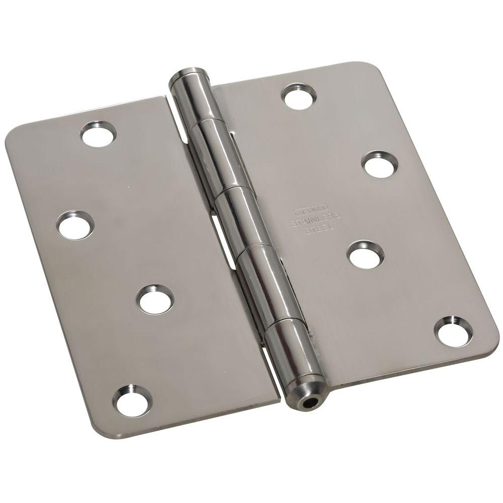 Stanley-National Hardware 4 in. x 4 in. Stainless Steel 1/4 in. Radius Residential Hinge-DISCONTINUED