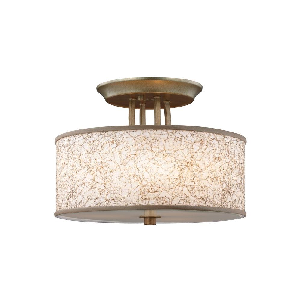 Parchment Park 3-Light Burnished Silver Semi Flush Mount