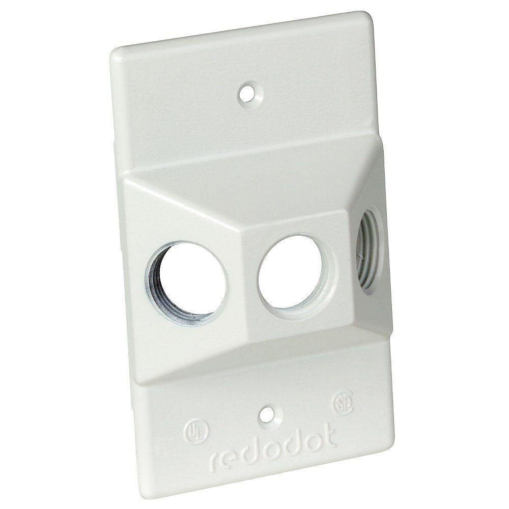1-Gang Rectangular Lampholder Cover with 3 1/2 in. Holes
